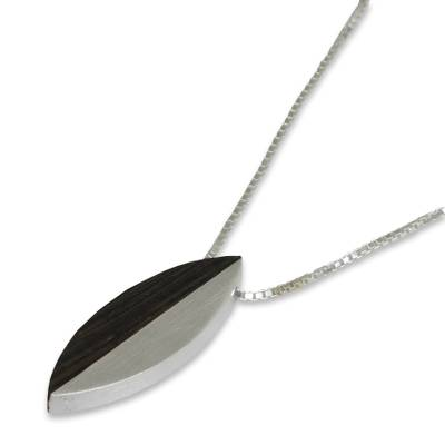Sterling silver and wood pendant necklace, 'Be Natural' - Wood and Silver 925 Pendant Necklace on Box Chain