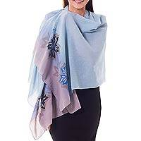 Cotton batik shawl, 'Summer Evening' - Light Blue and Purple Handmade Batik Floral Cotton Shawl