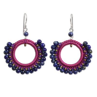 Thai Lapis Lazuli and Agate Beaded Dangle Earrings
