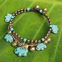 Brass beaded bracelet, 'Blue Elephant' - Fair Trade Brass and Calcite Elephant Bracelet