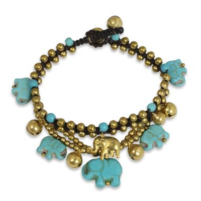 Brass beaded bracelet, 'Blue Elephant' - Handcrafted Bead Bracelet with Blue Elephant Charms