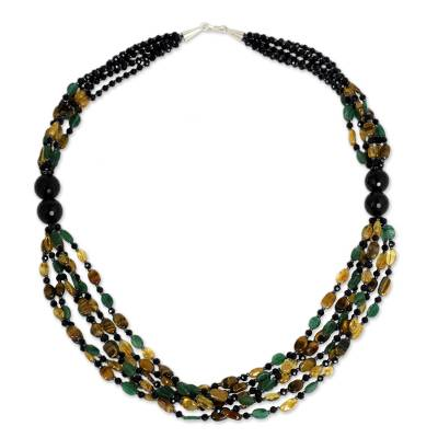 Onyx and tiger's eye beaded necklace, 'Golden Lemon' - Multi Gemstone Artisan Crafted Beaded Necklace