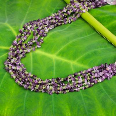 Amethyst and peridot beaded necklace, 'Lilac Lemon' - Beaded Gemstone Necklace with Amethyst and Peridot