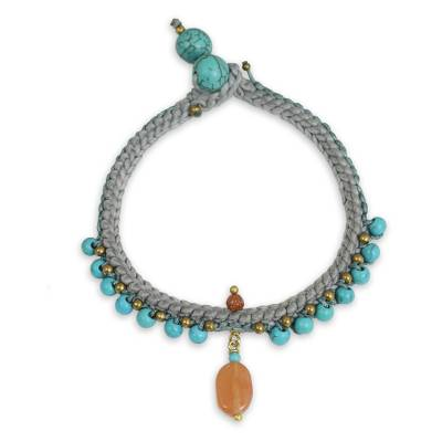 Turquoise Blue Calcite and Brass Bracelet from Thailand