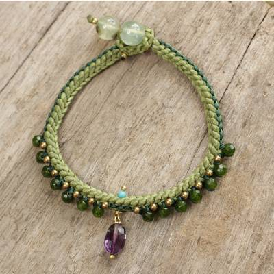 Beaded quartz and amethyst bracelet, 'Mae Sa Jungle' - Braided Cord Bracelet with Quartz, Amethyst, and Prehnite