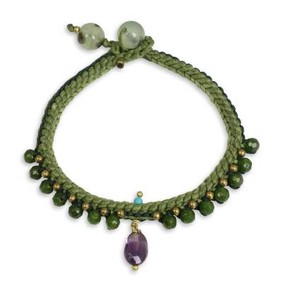 Braided Cord Bracelet with Quartz, Amethyst, and Prehnite
