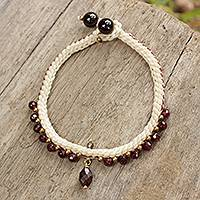 Garnet beaded bracelet, 'Mae Sa Buds' - Beaded Genuine Garnet Bracelet Handmade in Thailand