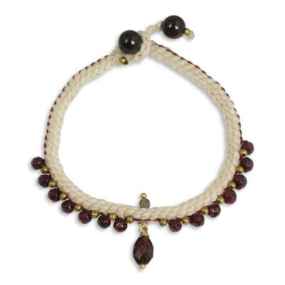 Beaded Genuine Garnet Bracelet Handmade in Thailand