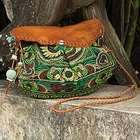 Leather accent embroidered shoulder bag, 'Green Mandarin Smile' - Ethnic Embroidered Bag with Leather Accent from Thailand