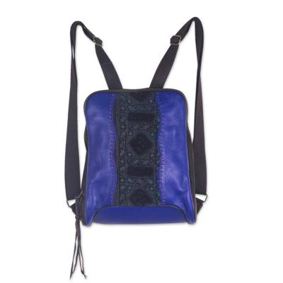 Handcrafted Blue Backpack in Leather and Embroidered Cotton