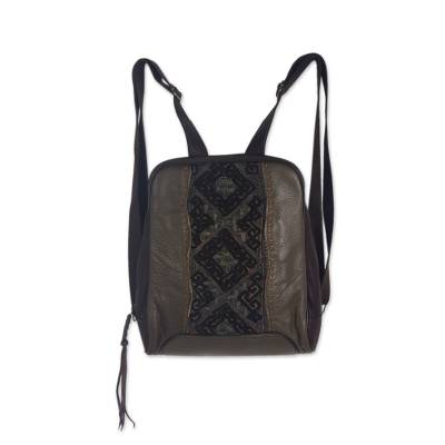 Embroidered Applique on Olive Leather Backpack Bag