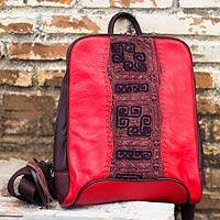 Leather and cotton backpack, 'Hill Tribe Cheer' - Handcrafted Red Leather and Woven Cotton Backpack