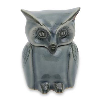 Artisan Crafted Small Blue Ceramic Owl Storage Jar