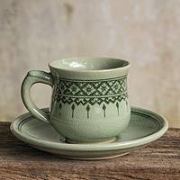 Celadon ceramic cup and saucer, 'Thai Weavings' - Thai Artisan Crafted Green Celadon Cup and Saucer