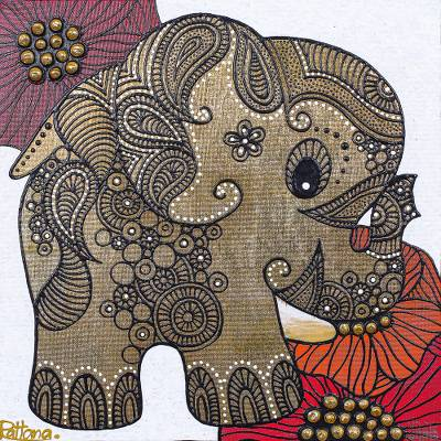 'Impression in Thailand lI' - Gold Foil Mixed Media Naif Elephant Signed Painting