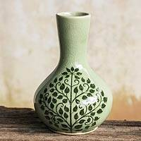 Celadon ceramic bud vase, 'Thai Bodhi' - Fair Trade Thai Celadon Vase with Bodhi Tree Motif