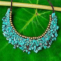 Beaded necklace, 'Pool Party' - Turquoise Colored Calcite and Brass Beaded Necklace