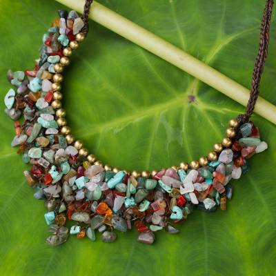 pin necklace semi chip precious gold summer seed beaded silver turquoise