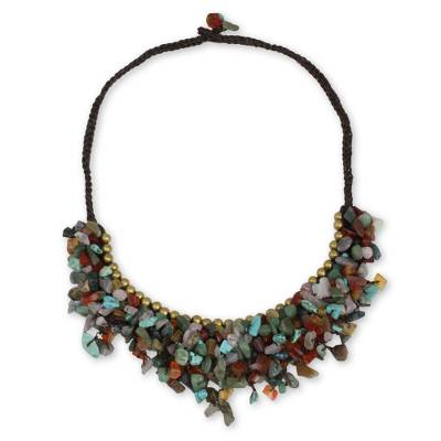 Handcrfated Multicolor Gemstone Brass Necklace