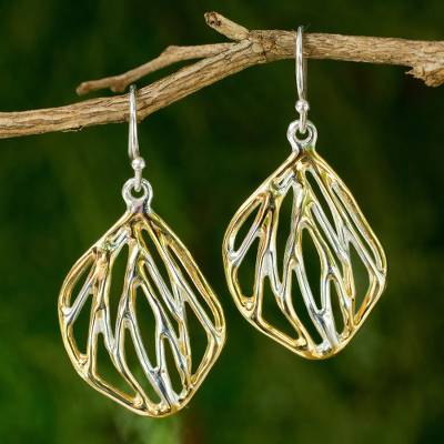 Gold accent sterling silver flower earrings, 'Orchid Origin' - Sterling Silver Flower Earrings with Gold Plated Accents