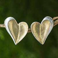 Gold plated heart earrings, 'Love Enchanted' - Sterling Silver and 24k Gold Plated Heart Post Earrings