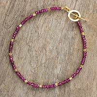 Garnet and gold plated bead bracelet, 'Simply Enchanted' - Beaded Garnet Bracelet with 24k Gold Plated Accents