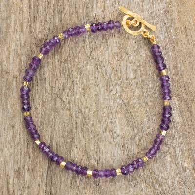 Amethyst and gold plated bead bracelet, 'Simply Captivated' - 24k Gold Plate and Amethyst Beaded Bracelet