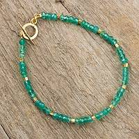 Chalcedony and gold plated bead bracelet, 'Simply Bedazzled' - Handcrafted Bead Bracelet with Chalcedony and 24k Gold