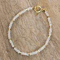 Rainbow moonstone and gold plated bead bracelet, 'Simply Fascinating' - Thai Fair Trade Rainbow Moonstone Bead Bracelet