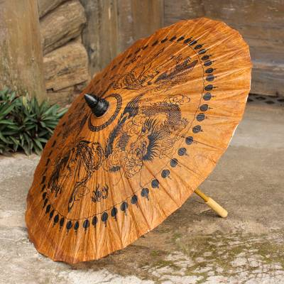 Paper and bamboo parasol, 'Dragons and Phoenixes' - Decorative Thai Parasol Hand Crafted with Paper and Bamboo
