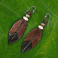 Leather dangle earrings, 'Leaf Feather'