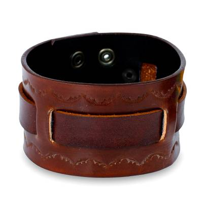 Hand Tooled Brown Leather Wristband Bracelet for Men