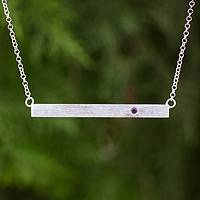 Sterling silver and amethyst pendant bar necklace, 'Simply Love' - Artisan Crafted Sterling Silver and Amethyst Bar Necklace