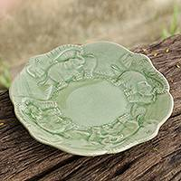 Celadon ceramic plate, 'Elephant Family' - Artisan Crafted Elephant Theme Thai Celadon Ceramic Plate