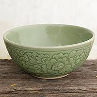 Celadon ceramic bowl, 'Green Peony' - Artisan Crafted Floral Theme Thai Celadon Ceramic Bowl