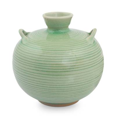 Celadon ceramic vase, 'Rice Fields' - Artisan Crafted Green Thai Celadon Ceramic Bud Vase