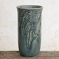 Celadon ceramic vase, 'Blue Banana Leaves' - Blue Celadon Ceramic Vase Handcrafted in Thailand