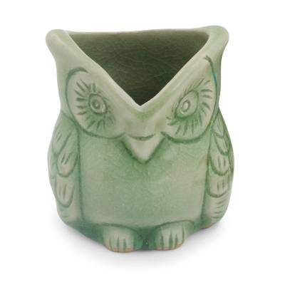 Celadon ceramic toothpick holder, 'Happy Green Owl' - Handcrafted Green Thai Celadon Bird Theme Toothpick Pot