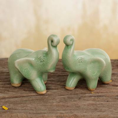 Celadon ceramic figurines, 'Lucky Green Elephants' (pair) - 2 Green Celadon Ceramic Handcrafted Lucky Elephant Figurines