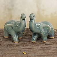 Celadon ceramic figurines, 'Lucky Blue Elephants' (pair) - 2 Blue Celadon Ceramic Handcrafted Lucky Elephant Figurines