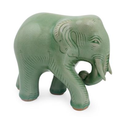 Celadon Ceramic Elephant Figurine by Thai Artisans