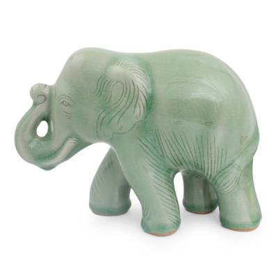 Celadon Ceramic Happy Elephant Figurine by Thai Artisans