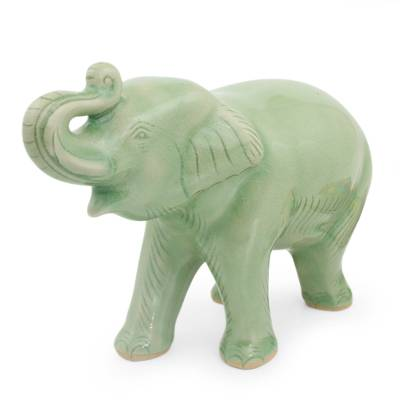 Celadon Ceramic Figurine, U0027Laughing Elephantu0027   Thai Artisan Crafted  Celadon Ceramic Elephant Figurine