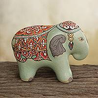 Celadon ceramic figurine, 'Royal Thai Elephant' - Artisan Crafted Thai Celadon Ceramic Elephant Statuette