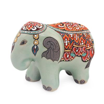 Artisan Crafted Thai Celadon Ceramic Elephant Statuette