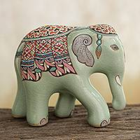 Celadon ceramic figurine, 'The King's Elephant' (small) - Thai Celadon Hand Painted Ceramic Elephant Statuette (Small)