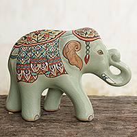 Celadon ceramic figurine, 'Smiling Royal Elephant' (large) - Thai Celadon Hand Painted Ceramic Elephant Statuette (Large)