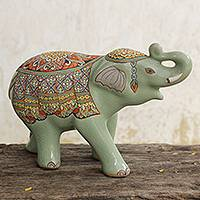 Celadon ceramic figurine, 'Trumpeting Elephant' - Green Celadon Ceramic Elephant Handcrafted in Thailand