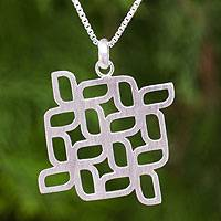 Sterling silver pendant necklace, 'Windmill Squared' - Artisan Crafted Brushed Sterling Silver Pendant Necklace