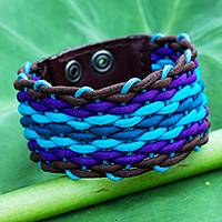 Cotton and leather wristband bracelet, 'Blue Weave' - Blue Cotton and Brown Leather Wristband Bracelet for Women
